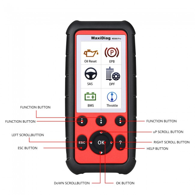 Autel MaxiDiag MD808 Pro Advanced All System OBDII Scanner Advanced MaxiCheck Pro and MD802