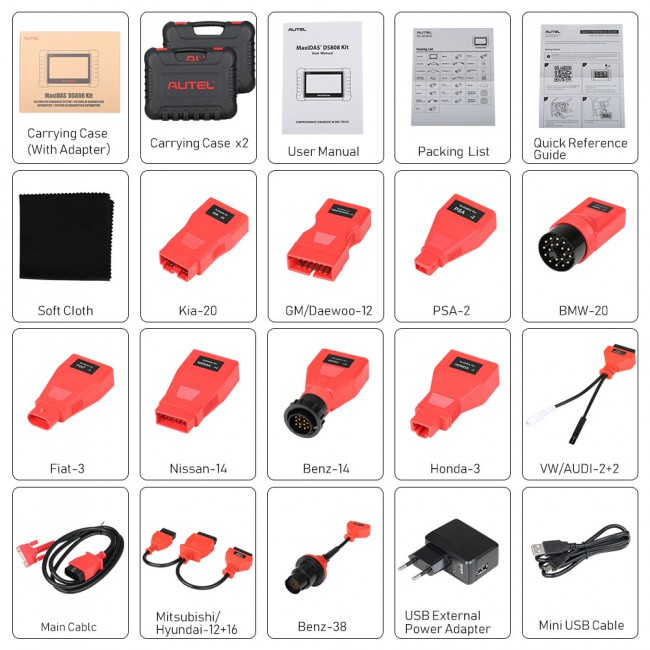 Autel MaxiDAS DS808K OBD2 Scan Tool Full Set DS808 Kit Scanner Diagnostic Tool Injector Coding Update Online