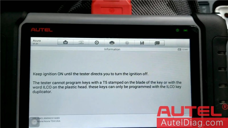 Autel MK808 Diagnostic Tool to program a key for Acura TSX 07
