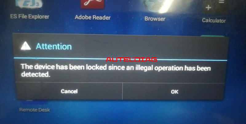 autel he device has been locked since an illegal operation has been detected